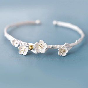 NEW 925 Sterling Silver Flower Cuff Bangle